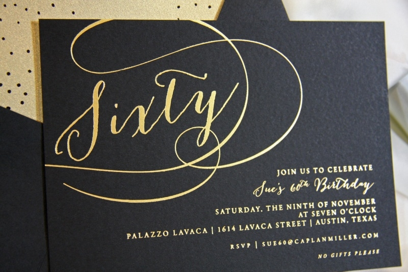 Sues Foil Stamped 60th Birthday Invitation Letterpress Printing