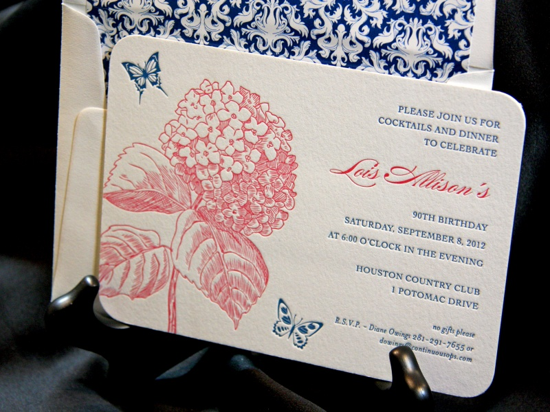 Letterpress invitations houston engraved inviations houston lois 90th birthday letterpress filmwisefo Images
