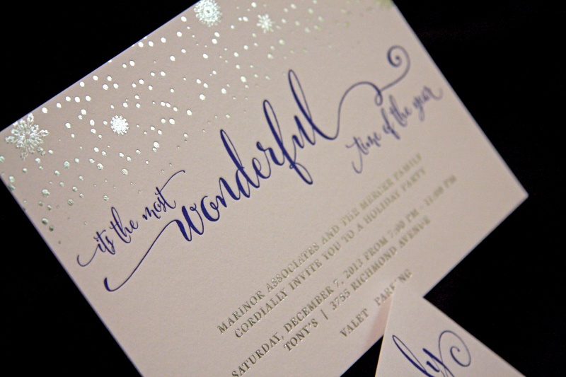 The Mercer Families Foil Stamped Letterpress Holiday Party – Letterpress Party Invitations