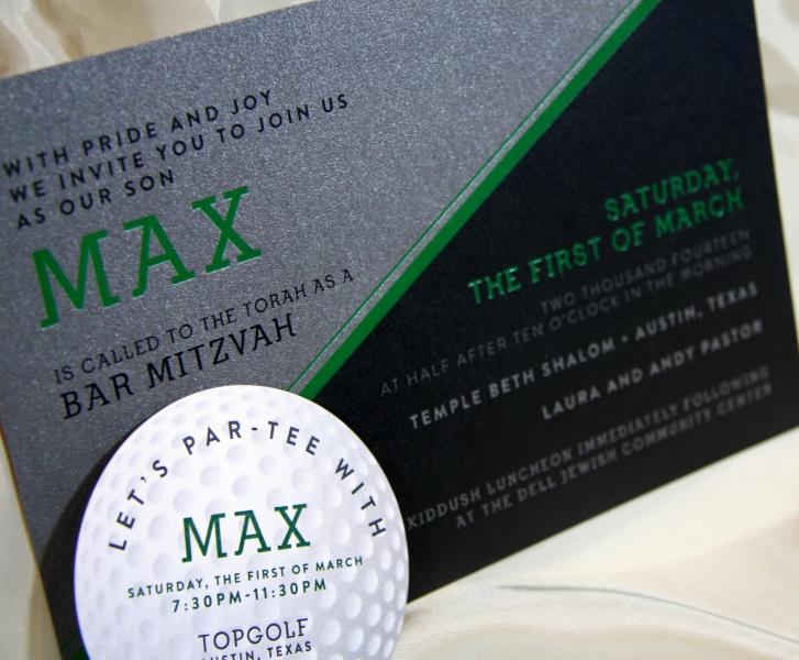 max s golf themed foil stamped bar mitzvah invitations elation press
