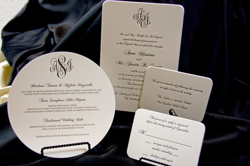 Letterpress Wedding invitations Houston Engraved Wedding