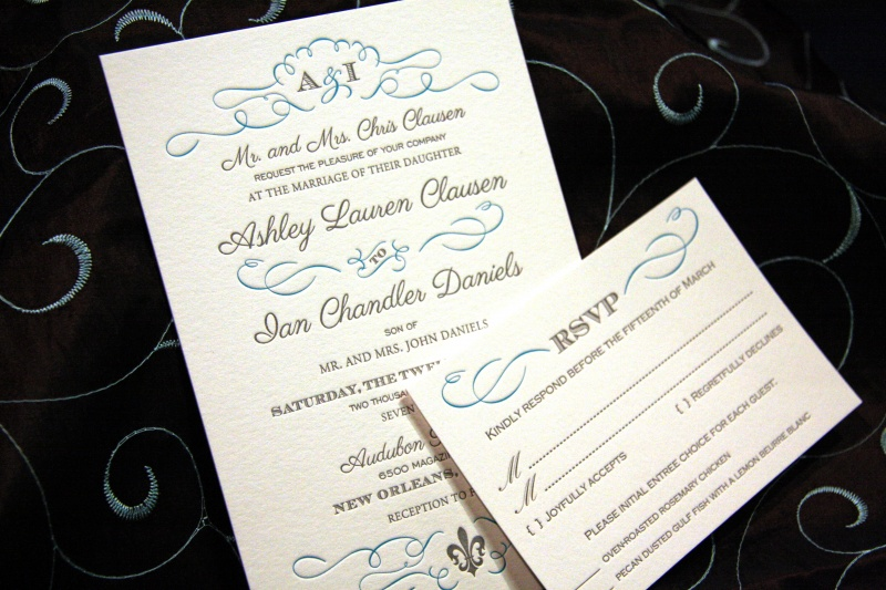 Daniels Wedding Invitations Letterpress