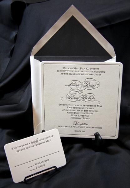 Wedding Invitation Lettepress Envelope Replycard